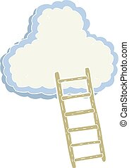 flat color illustration of a cartoon ladder to heaven