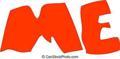 flat color illustration of a cartoon ME symbol