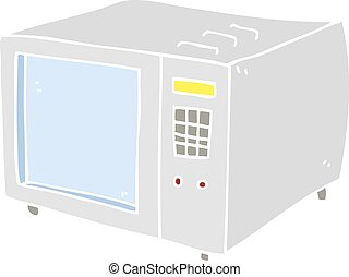 flat color illustration of a cartoon microwave - flat color...