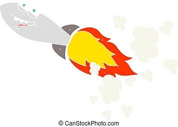flat color illustration of a cartoon missile