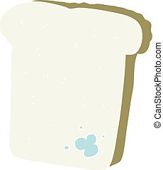 flat color illustration of a cartoon mouldy bread - flat...