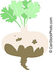 flat color illustration of a cartoon muddy turnip - flat...