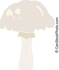 flat color illustration of a cartoon mushroom