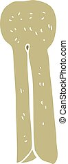 flat color illustration of a cartoon old wood peg - flat...