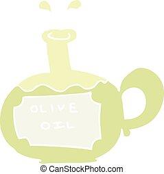 flat color illustration of a cartoon olive oil