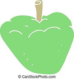 flat color illustration of a cartoon organic apple - flat...