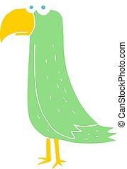 flat color illustration of a cartoon parrot