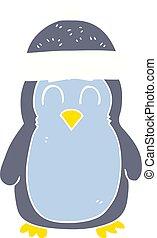 flat color illustration of a cartoon penguin