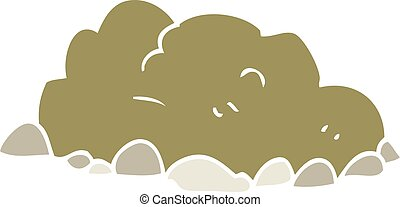 flat color illustration of a cartoon pile of dirt