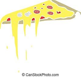 flat color illustration of a cartoon pizza