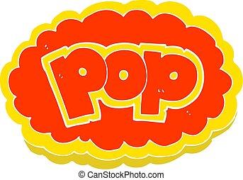 flat color illustration of a cartoon POP symbol