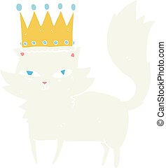 flat color illustration of a cartoon posh cat - flat color...