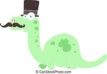 flat color illustration of a cartoon posh dinosaur - flat...