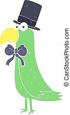 flat color illustration of a cartoon posh parrot - flat...