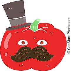 flat color illustration of a cartoon posh tomato - flat...