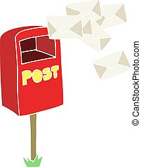 flat color illustration of a cartoon post box