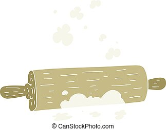 flat color illustration of a cartoon rolling pin