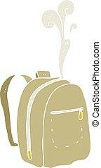 flat color illustration of a cartoon rucksack - flat color...