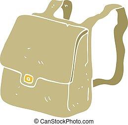 flat color illustration of a cartoon satchel - flat color...