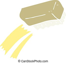 flat color illustration of a cartoon scrubbing brush - flat...
