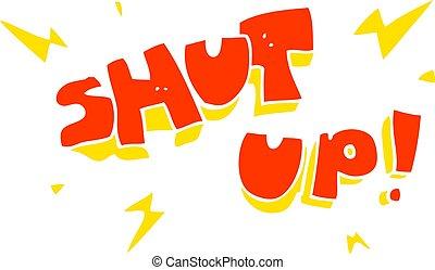flat color illustration of a cartoon shut up! symbol - flat...