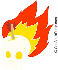 flat color illustration of a cartoon skull with arrow
