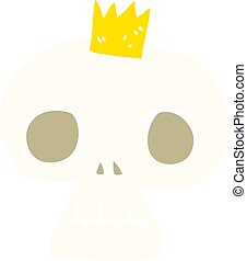 flat color illustration of a cartoon skull with crown