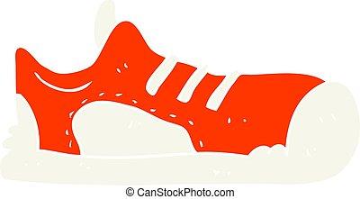 flat color illustration of a cartoon sneaker