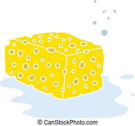 flat color illustration of a cartoon sponge