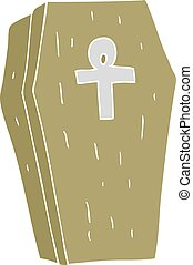 flat color illustration of a cartoon spooky coffin - flat...