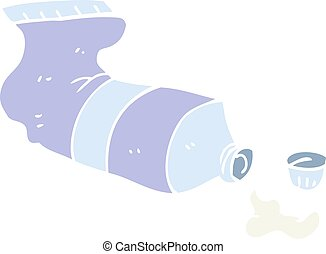 flat color illustration of a cartoon squeezed tube of...