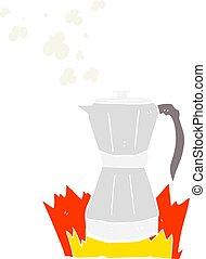 flat color illustration of a cartoon stovetop espresso maker