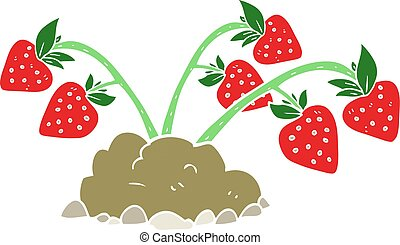 flat color illustration of a cartoon strawberries