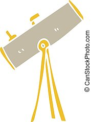 flat color illustration of a cartoon telescope