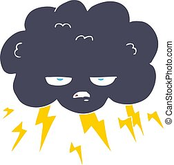 flat color illustration of a cartoon thundercloud