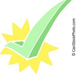 flat color illustration of a cartoon tick symbol