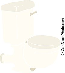 flat color illustration of a cartoon toilet