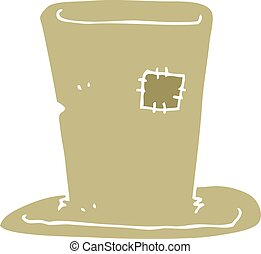 flat color illustration of a cartoon tramp top hat