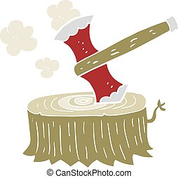 flat color illustration of a cartoon tree stump and axe