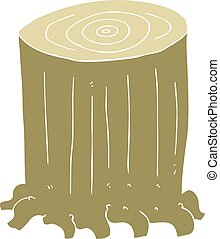 flat color illustration of a cartoon tree stump