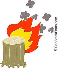 flat color illustration of a cartoon tree stump on fire