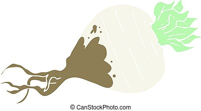 flat color illustration of a cartoon turnip - flat color...