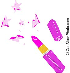 flat color illustration of a cartoon vivid lipstick