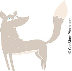 flat color illustration of a cartoon wolf