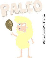 flat color illustration of a cartoon woman on paleo diet -...