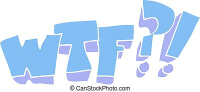 flat color illustration of a cartoon WTF symbol