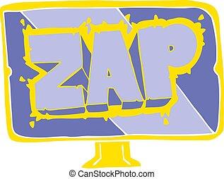 flat color illustration of a cartoon zap screen