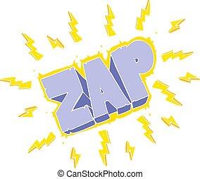 flat color illustration of a cartoon zap symbol