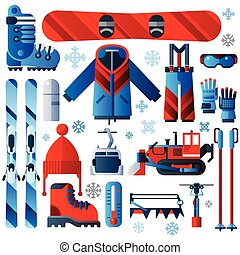 Flat Color Isolated Skiing Icons