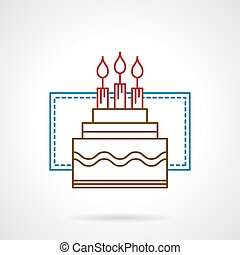 Flat color line birthday cake vector icon